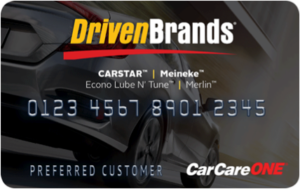 The Driven Brands CARSTAR CarCareONE credit card is shown. (Provided by CARSTAR)