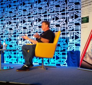 Auto design star Chip Foose discussed his own career and small business decisions with Capital One small-business credit card head Buck Stinson before a SEMA audience Nov. 1, 2016, as part of a Society of Collision Repair Specialists-Capital One Spark Business event. (John Huetter/Repairer Driven News)