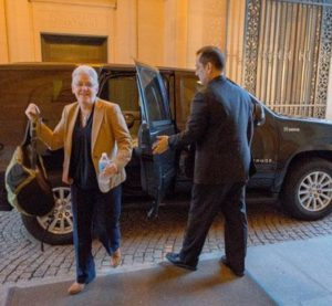 Environmental Protection Agency Administrator Gina McCarthy gets out of a hybrid Chevrolet Tahoe. (Provided by the Environmental Protection Agency)