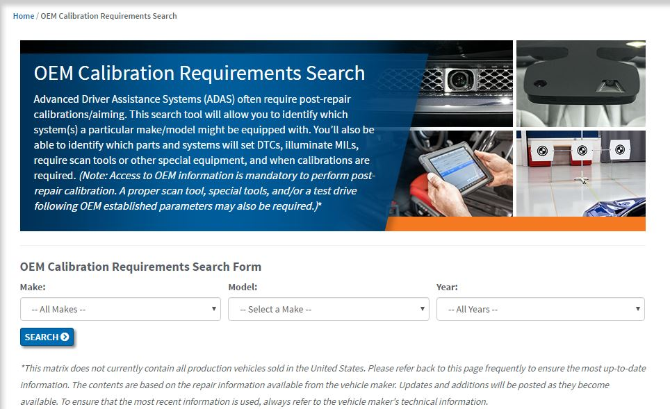 This screenshot from the I-CAR Repairability Technical Support portal shows the new calibration database announced Nov. 1, 2016, by I-CAR. (Screenshot from rts.i-car.com)