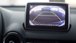 The backup camera on a Mazda CX-3. (Provided by Insurance Institute for Highway Safety)