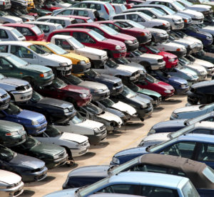 An auto salvage yard is shown. (federicofoto/iStock)