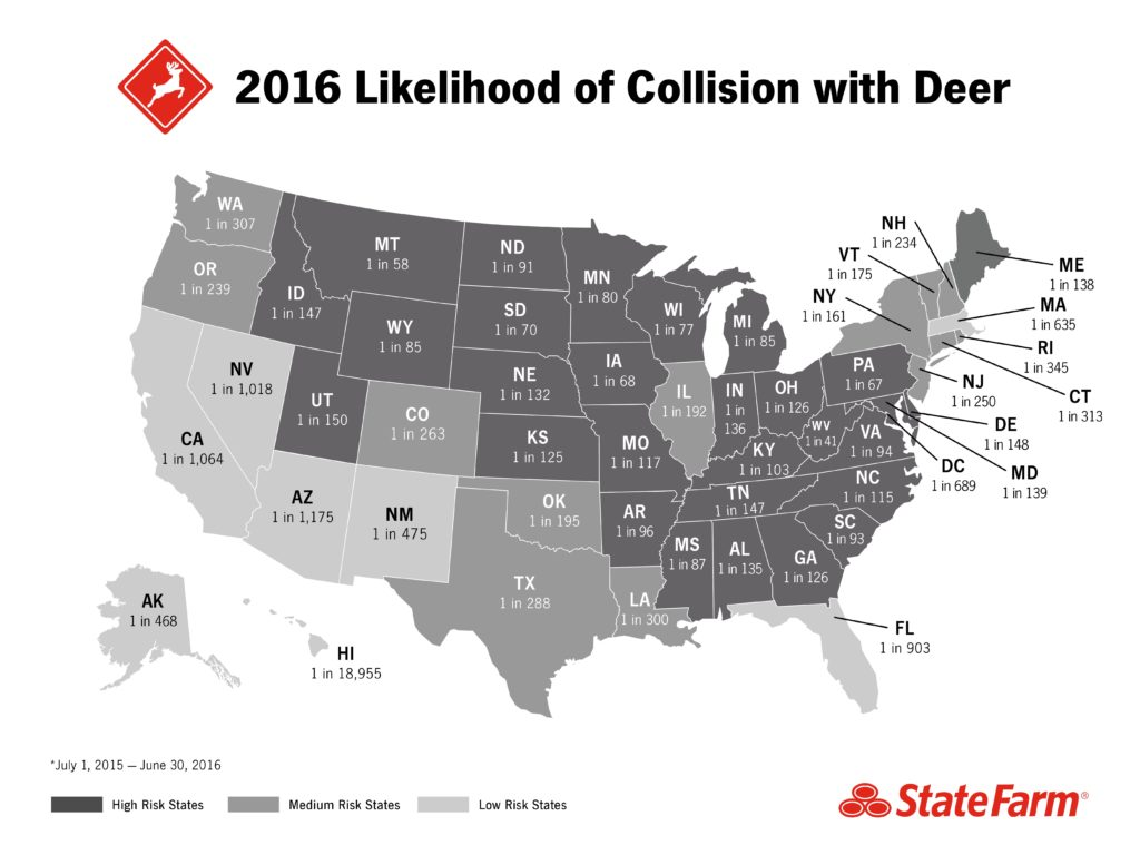 State Farm estimated these odds of hitting a deer between June 30, 2015, and July 1, 2016. (Provided by State Farm)