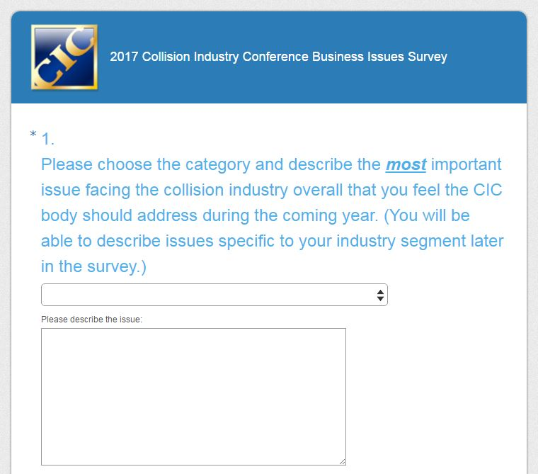 A screenshot from the Collision Industry Conference planning meeting survey website. (Screenshot from www.ciclink.com/2017-planning-meeting-survey)