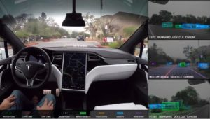 Tesla on Friday released a self-driving car demonstration video to give viewers a sense of how the system perceives the world. (Screenshot from www.tesla.com video)