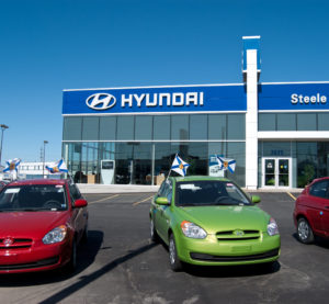 2011 Hyundai Accents sit in front of a Halifax, Canada, dealership  March 27, 2011. (Shane Shaw/iStock)