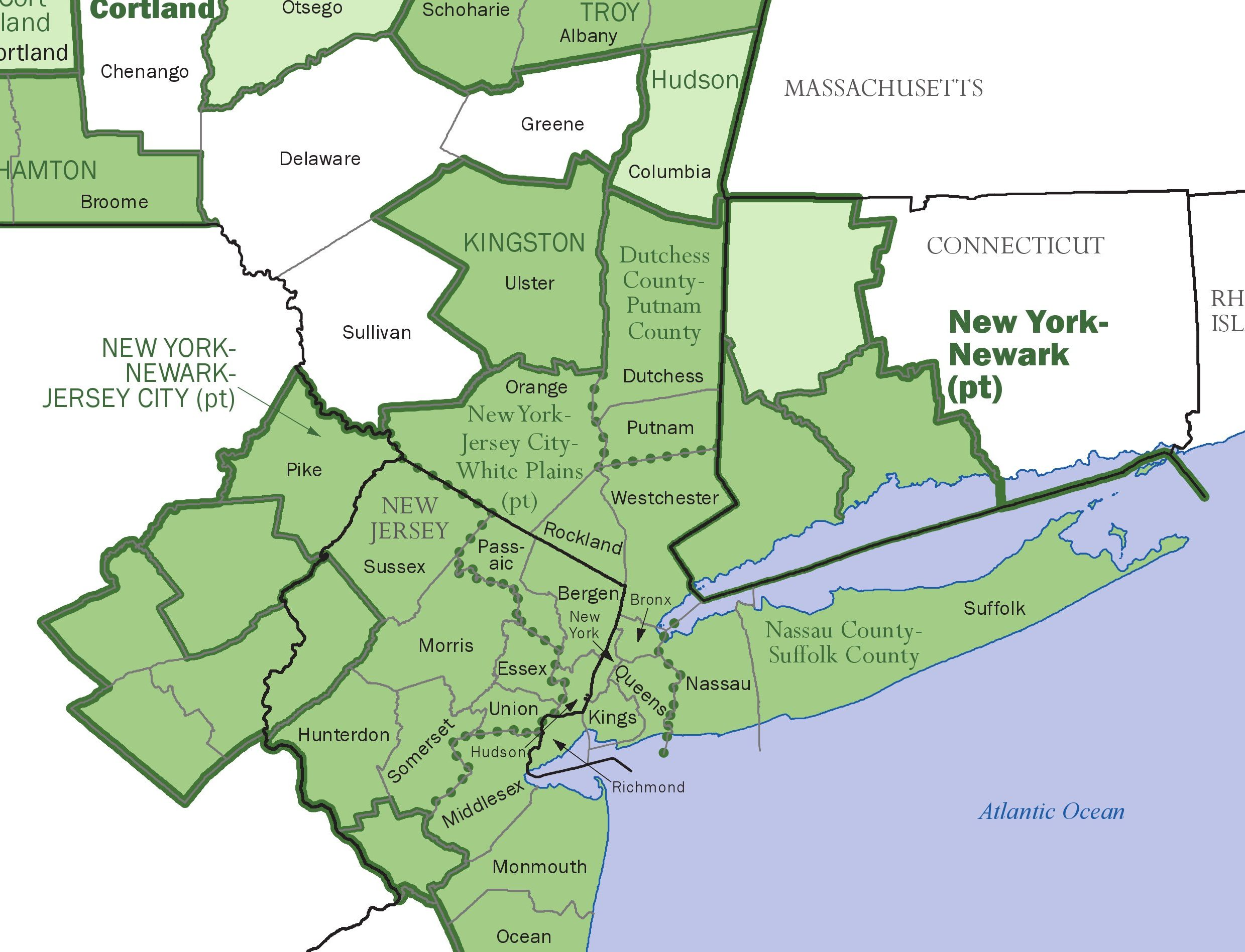 This Census Bureau Economics and Statistics Administration map shows core-based statistical areas in New York City, Long Island and surrounding states. (Provided by U.S. Census Bureau)
