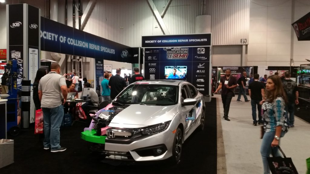 The Society of Collision Repair Specialists' booth at SEMA 2016 is shown Nov. 4, 2016. (John Huetter/Repairer Driven News)