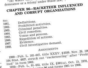 The segment on the RICO law is shown from Title 18 of the United States Code. (Provided by Government Printing Office)