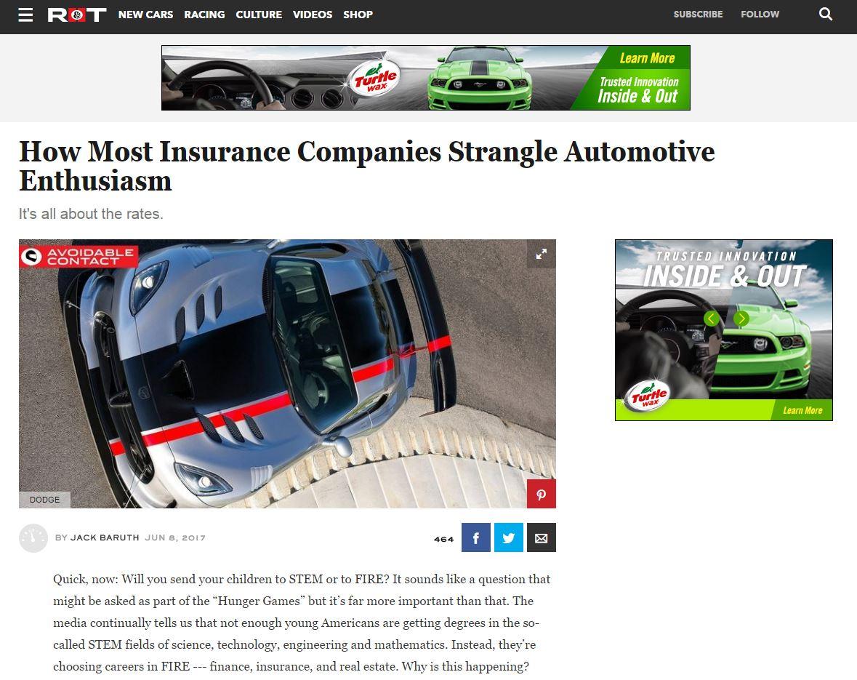 Road & Track column Insurance kills fun cars has unfair