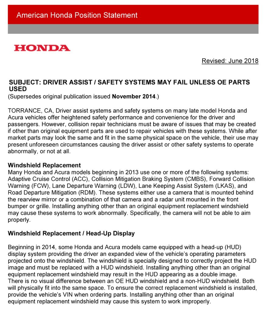 Honda: Incorrect Glass, Grilles Might Compromise ADAS