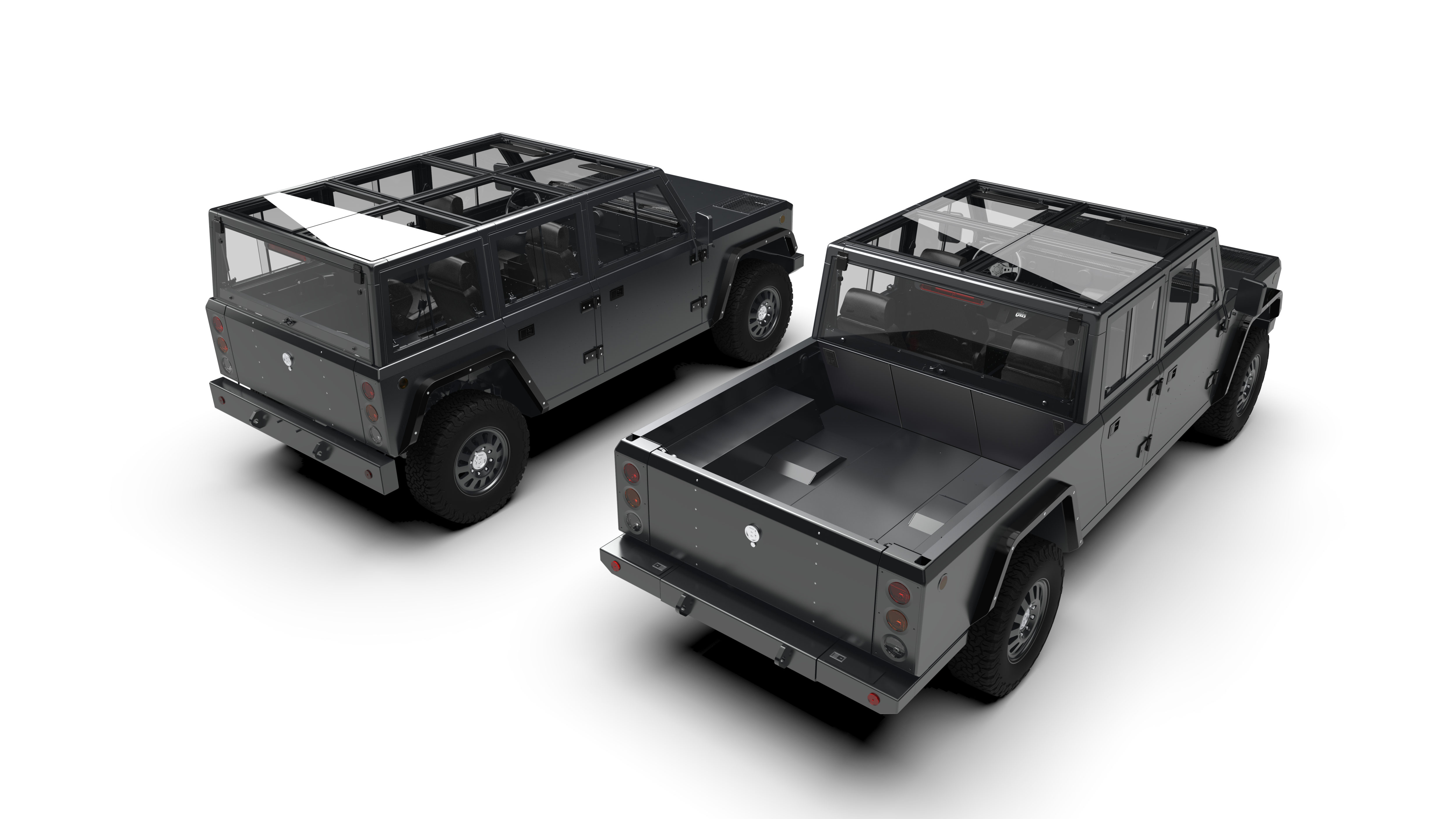 The Nearly Completed Electric Aluminum Bollinger B1 Sport Utility Truck Left And Planned B2 Pickup Are Shown